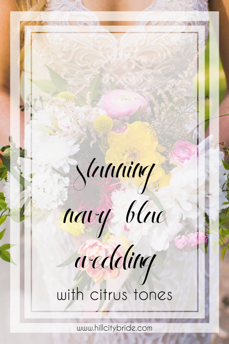 Navy Blue Wedding with Citrus Tones - Pink Fuschia Gold Peach Blush