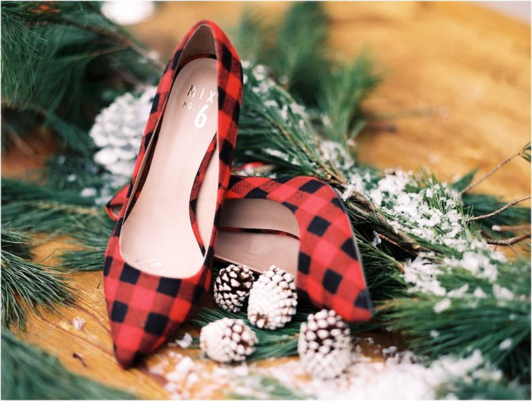 Christmas Wedding Holiday Berries Winter Styled Shoot as seen on Hill City Bride Virginia Wedding Blog - shoes, plaid