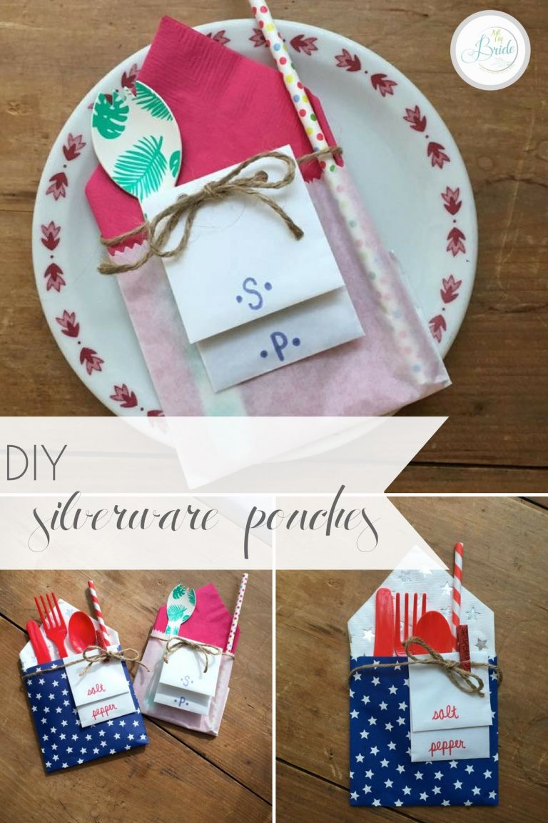 Custom DIY Silverware Pouches as seen on Hill City Bride Wedding Blog for Events and Parties