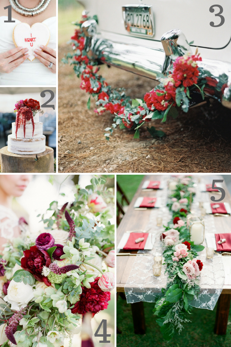 Red Wedding Inspiration as seen on Hill City Bride