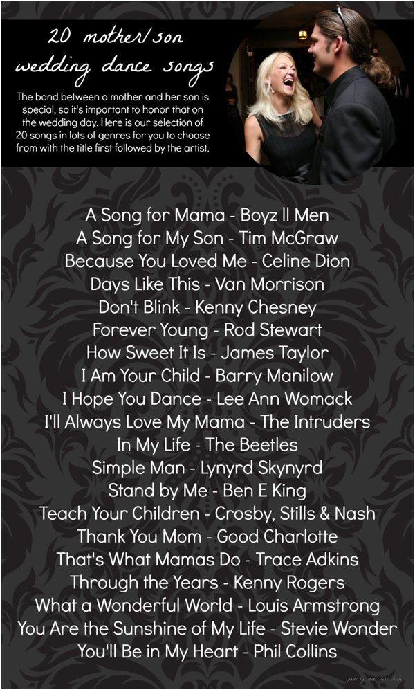 20 Mother Son Dance Song Ideas Hill City Bride
