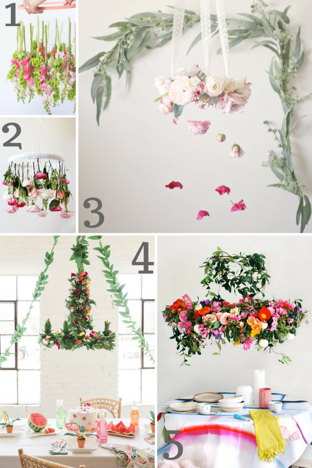 DIY Flower Chandelier Inspiration seen on Hill City Bride