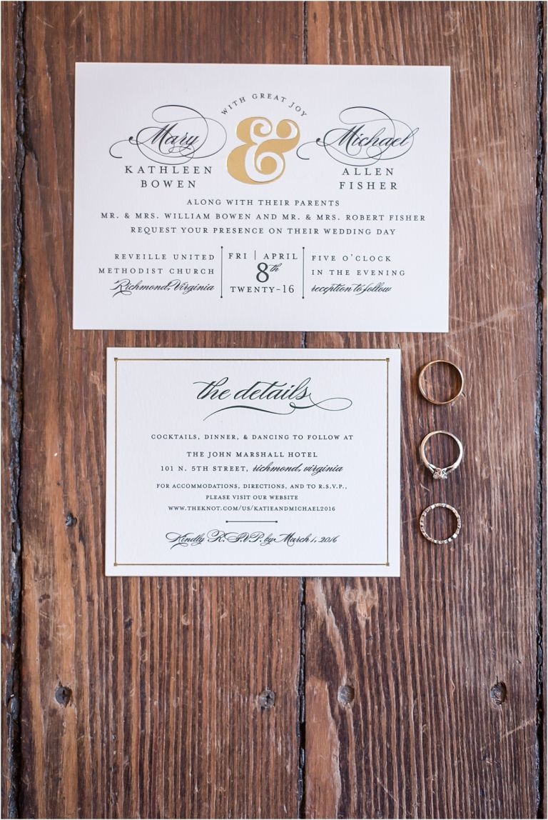 Sophisticated Richmond Wedding in Virginia as seen on Hill City Bride by Melissa Desjardins Photography Wedding Invitation