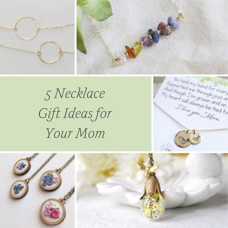 5 Necklace Gift Ideas for Your Mom as Mother of the Bride or Groom and Mother's Day Gift Ideas as seen on Hill City Bride from Etsy