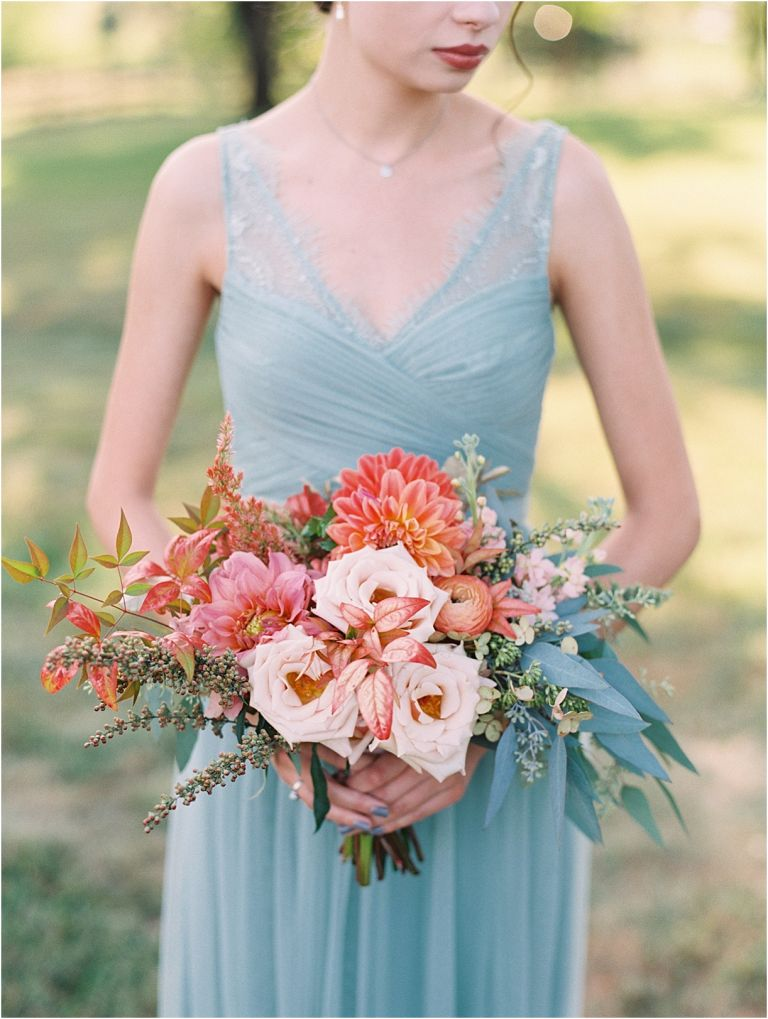 Living Coral Lynchburg Virginia Magical Woodland Wedding as seen on Hill City Bride by Adam Barnes Photography