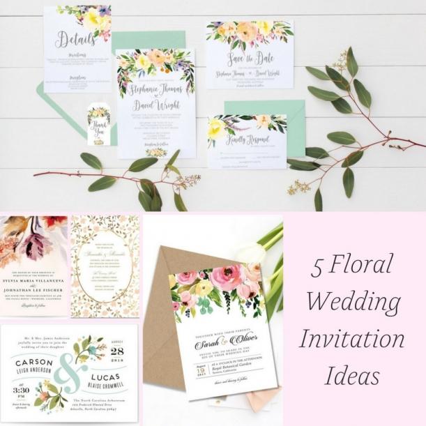 5 Floral Wedding Invitation Ideas as seen on Hill City Bride