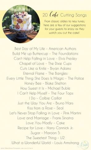 20 Cake Cutting Song Ideas to Use While Cutting Your Cake as seen on Hill City Bride Wedding Blog