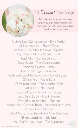 20 Bouquet Toss Song Ideas as seen on Hill City Bride Wedding Blog