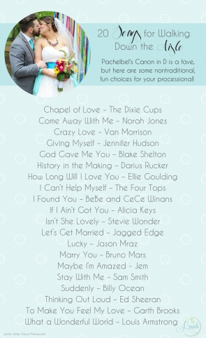 20 Songs for Walking Down the Aisle and Processional as seen on Hill City Bride Wedding Blog