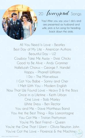 20 Wedding Recessional Songs as seen on Hill City Bride Wedding Blog