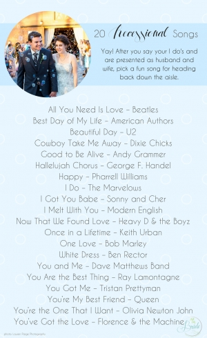 20 Wedding Recessional Songs as seen on Hill City Bride Wedding Blog
