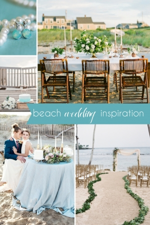 Beach Wedding Inspiration Board as seen on Hill City Bride - Jewelry Ocean Ceremony Sand Sea