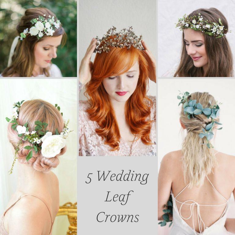 5 Wedding Leaf Crown Ideas as seen on Hill City Bride Flower Eucalyptus Vintage Gold