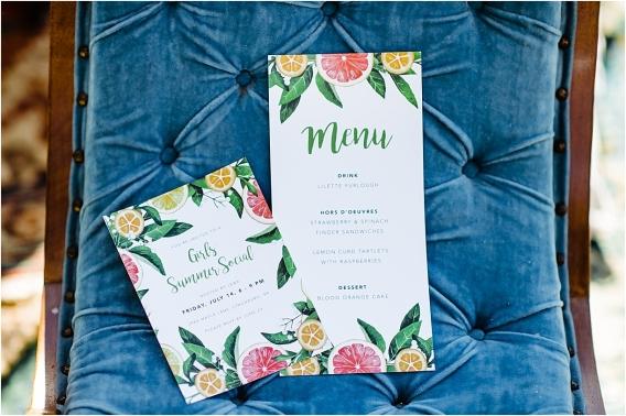 Citrus Bachelorette Party as seen on Hill City Bride Wedding Blog Flowers Orange Invitations Stationery