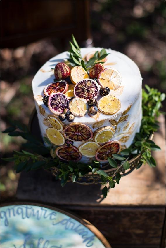 Citrus Bachelorette Party as seen on Hill City Bride Wedding Blog Flowers Orange Cake Blood Greenery