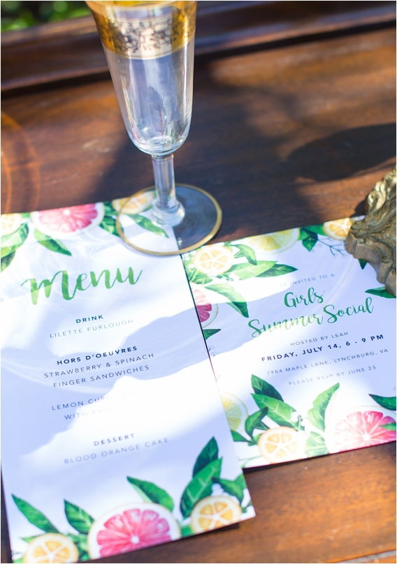 Citrus Bachelorette Party as seen on Hill City Bride Wedding Blog Flowers Orange Invitations