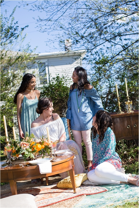 Citrus Bachelorette Party as seen on Hill City Bride Wedding Blog Hair Makeup Bridesmaids