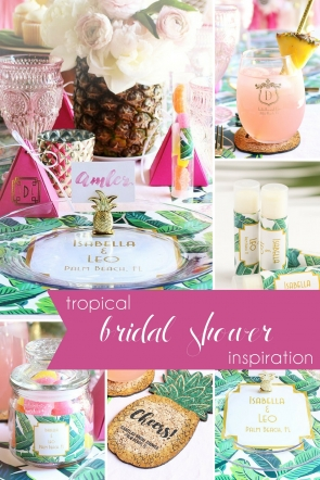 Tropical Bridal Shower as seen on Hill City Bride Wedding Blog - favors, pineapple, placemats, ideas, pink, green