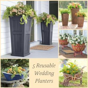 5 Reusable Wedding Planters as seen on Hill City Bride - plow and hearth, garden, flowers, urn, wheelbarrow, boat