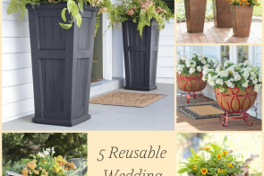 5 Reusable Wedding Planters as seen on Hill City Bride - plow and hearth, garden, flowers, urn, wheelbarrow, boat