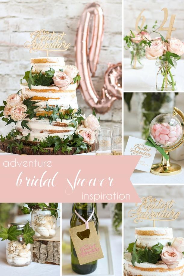Adventure Bridal Shower Inspiration as seen on Hill City Bride Wedding Blog - blush, cake topper, favors