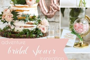 Adventure Bridal Shower Inspiration as seen on Hill City Bride Wedding Blog - blush, cake topper, favors