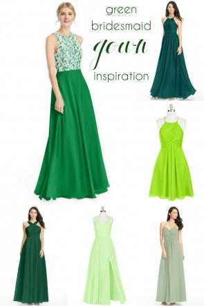 Green Bridesmaid Dress Inspiration as seen on Hill City Bride Wedding Blog