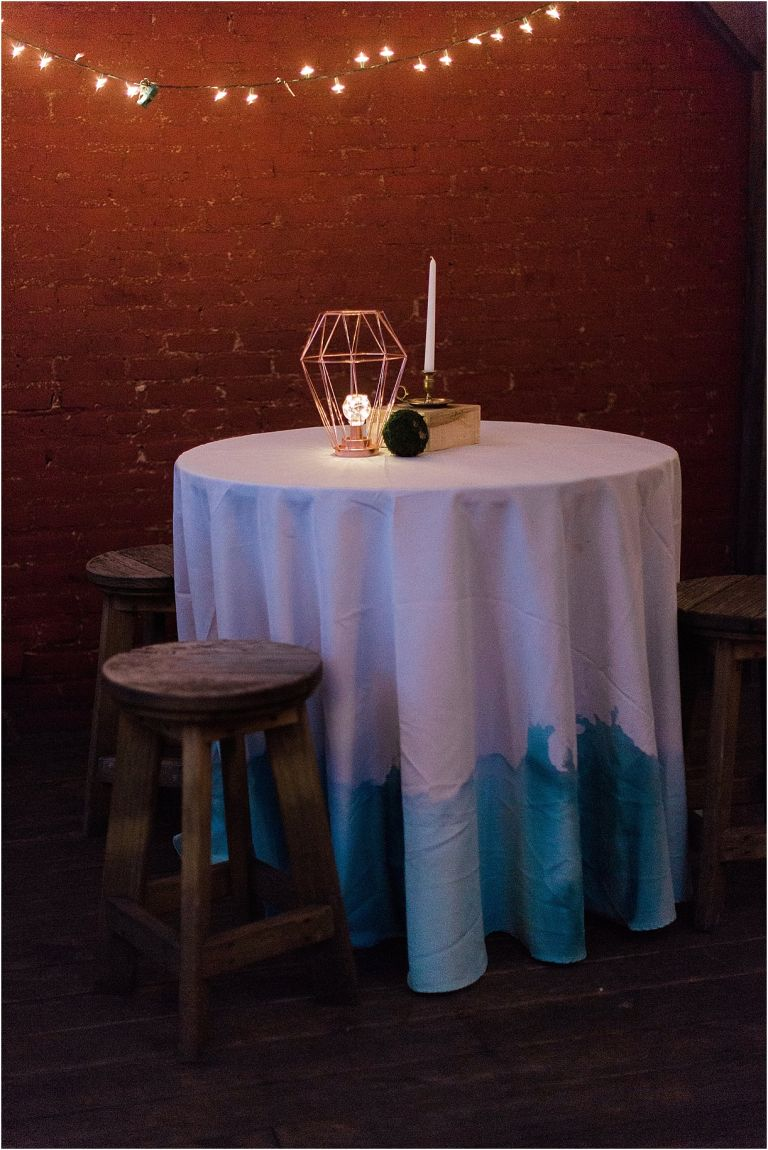 White Hart Wedding in Lynchburg as seen on Hill City Bride Virginia Wedding Blog by Gaudium Photography - watercolor tablecloth