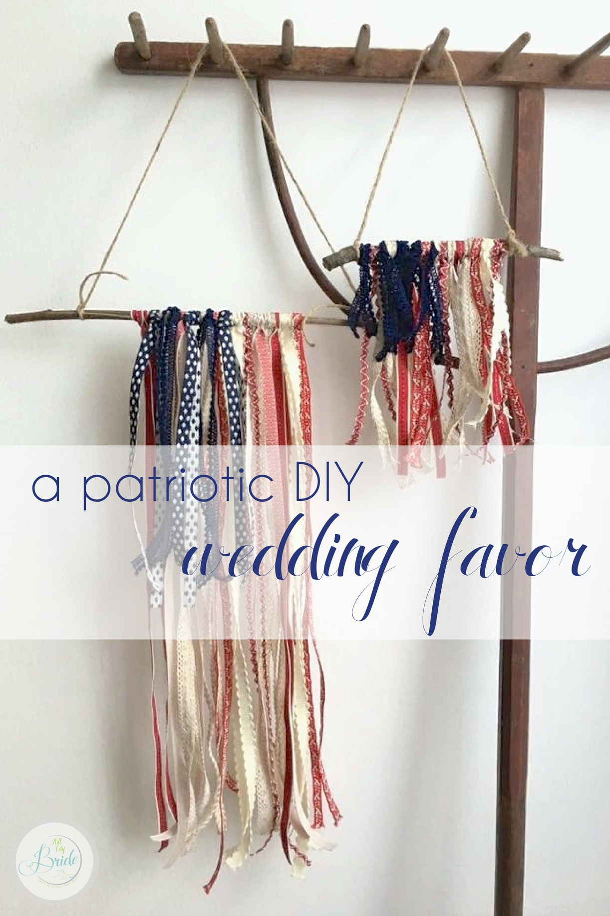 Patriotic DIY Wedding Favor as seen on Hill City Bride Virginia Wedding Blog and Magazine - 4th of July, military, flag, ribbon flag, americana