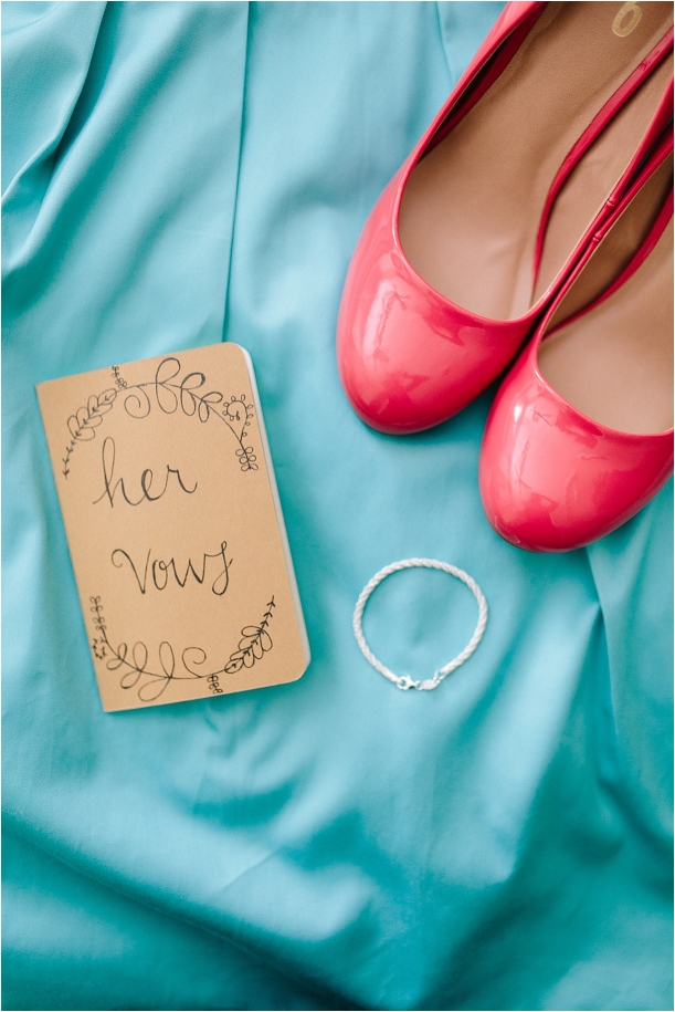 A Pink and Aqua Roanoke Virginia Wedding as seen on Hill City Bride Blog and Magazine - shoes, details