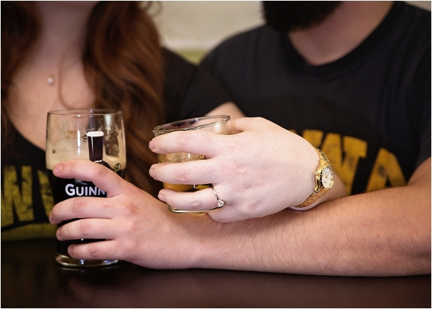 Norfolk Irish Pub Engagement Session as seen on Hill City Bride Virginia Wedding Blog by Laura Sue Brod Photography - guinness beer, drink