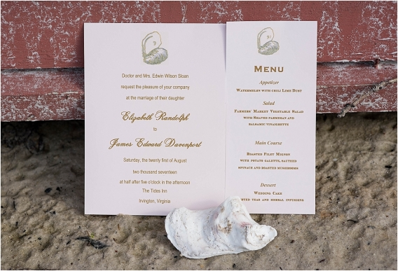 The Tides Inn Virginia Wedding Inspiration as seen on Hill City Bride Blog by Will Hawkins Photography - invitation, stationery