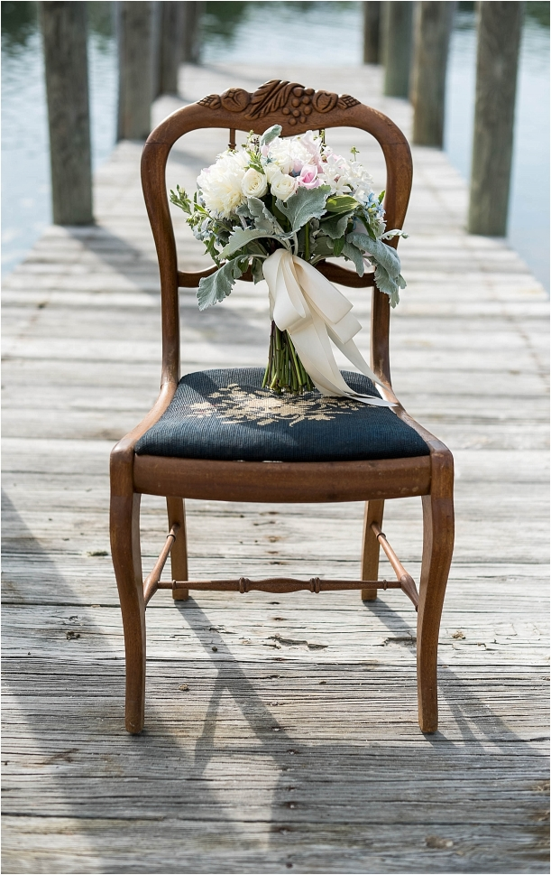 The Tides Inn Virginia Wedding Inspiration as seen on Hill City Bride Blog by Will Hawkins Photography - bouquet, chair
