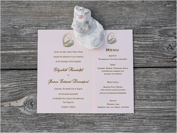 The Tides Inn Virginia Wedding Inspiration as seen on Hill City Bride Blog by Will Hawkins Photography - beach, shell, stationery