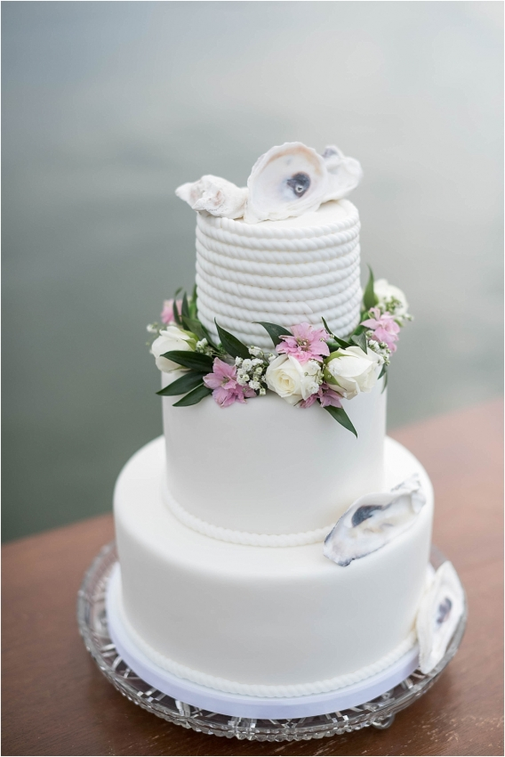 The Tides Inn Virginia Wedding Inspiration as seen on Hill City Bride Blog by Will Hawkins Photography - beach, cake, water, white