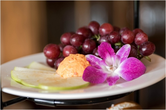 The Tides Inn Virginia Wedding Inspiration as seen on Hill City Bride Blog by Will Hawkins Photography - orchid, food, grapes, reception