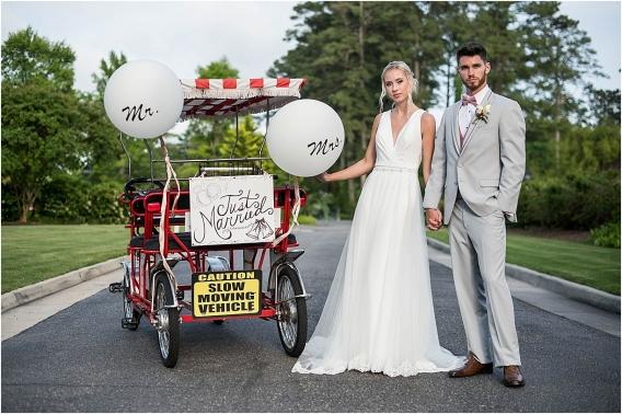 The Tides Inn Virginia Wedding Inspiration as seen on Hill City Bride Blog by Will Hawkins Photography - transportation, bride, groom, balloons, big balloon