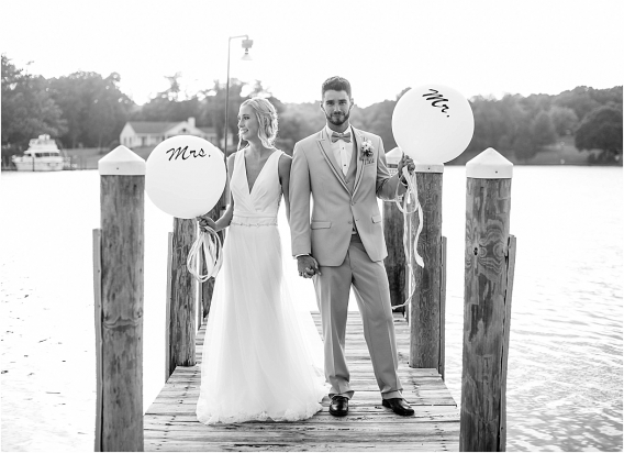 The Tides Inn Virginia Wedding Inspiration as seen on Hill City Bride Blog by Will Hawkins Photography - balloons, couple, dock, water, beach, married