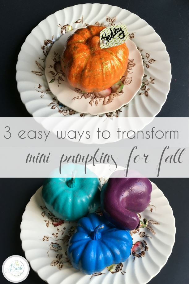 3 Easy Ways to Transform Mini Pumpkins for Fall as seen on Hill City Bride Wedding Blog