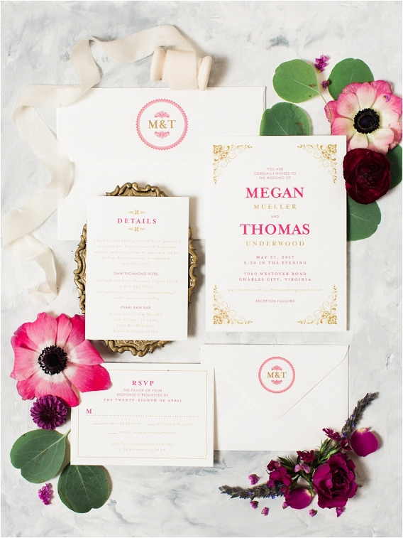 Historic Virginia Plantation Wedding as seen on Hill City Bride Blog by Rebekah Emily Photography - invitations, stationery