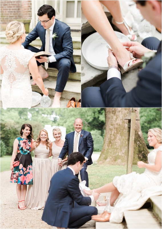 Historic Virginia Plantation Wedding as seen on Hill City Bride Blog by Rebekah Emily Photography - foot washing