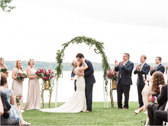 Historic Virginia Plantation Wedding as seen on Hill City Bride Blog by Rebekah Emily Photography - ceremony, kiss