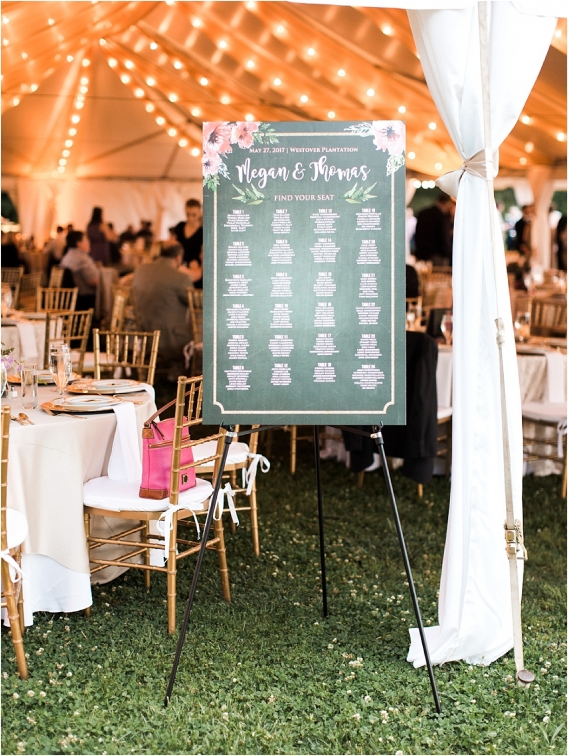 Historic Virginia Plantation Wedding as seen on Hill City Bride Blog by Rebekah Emily Photography - seating chart, reception