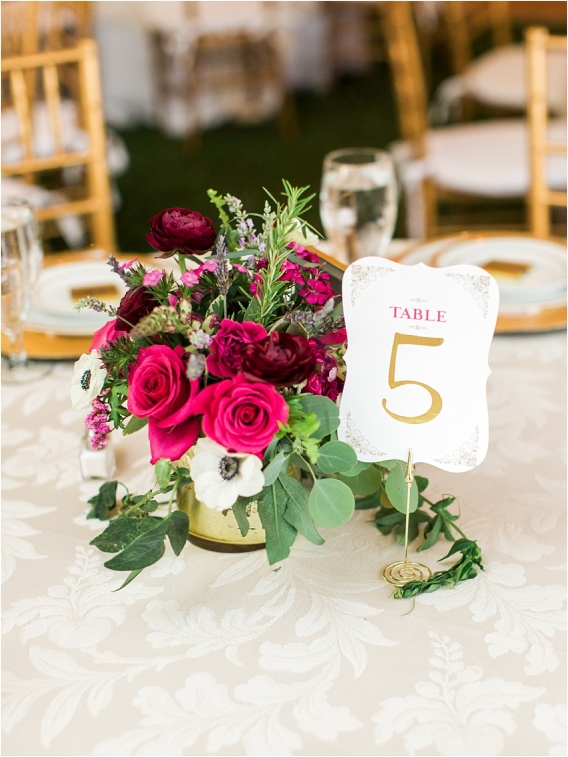 Historic Virginia Plantation Wedding as seen on Hill City Bride Blog by Rebekah Emily Photography - table number, flowers, centerpiece