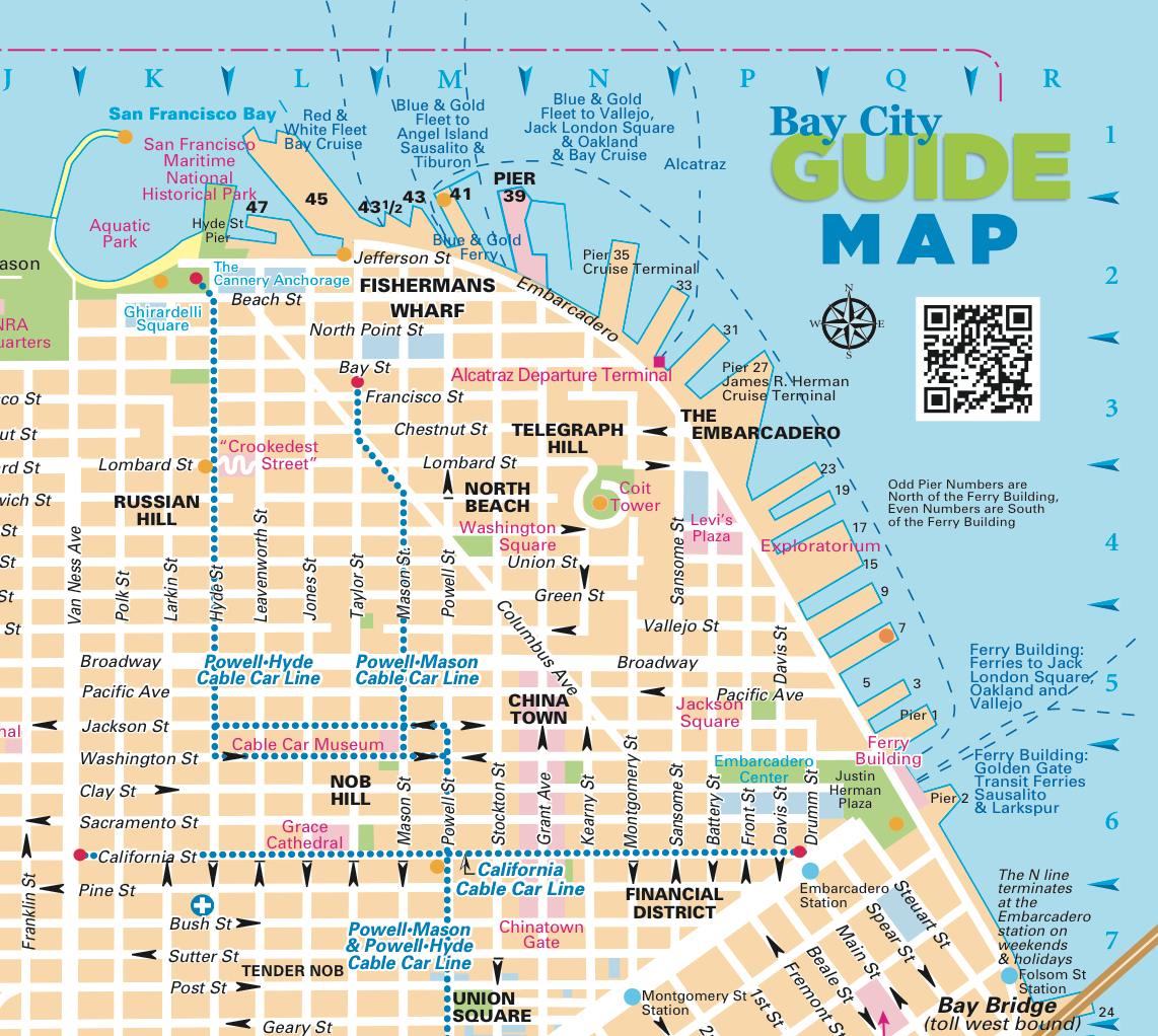 San Francisco Walking Tour City Map by Bay Guides CA