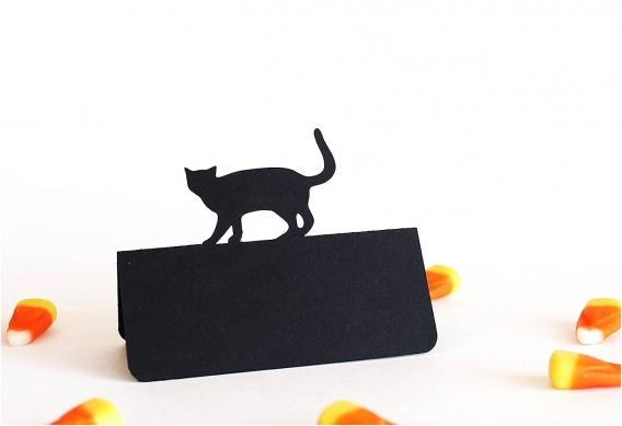 Bootiful Halloween Wedding Ideas as seen on Hill City Bride Virginia Blog via Etsy - place card, black cat