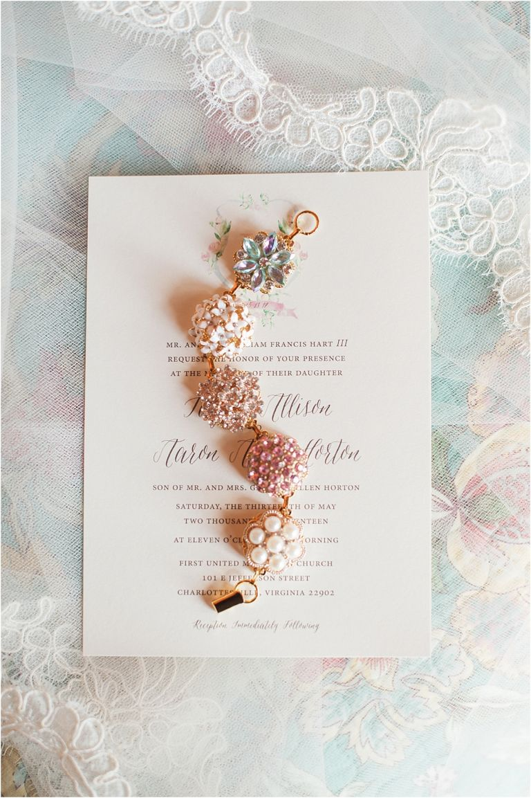 Virginia Barn Wedding as seen on Hill City Bride Wedding Blog - invitation, bracelet