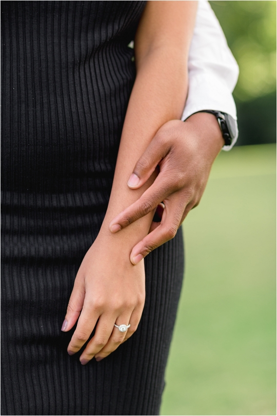 CNU Engagement Session as seen on Hill City Bride Wedding Blog Norfolk Christopher Newport University African American Ring Diamond Round Halo Solitaire