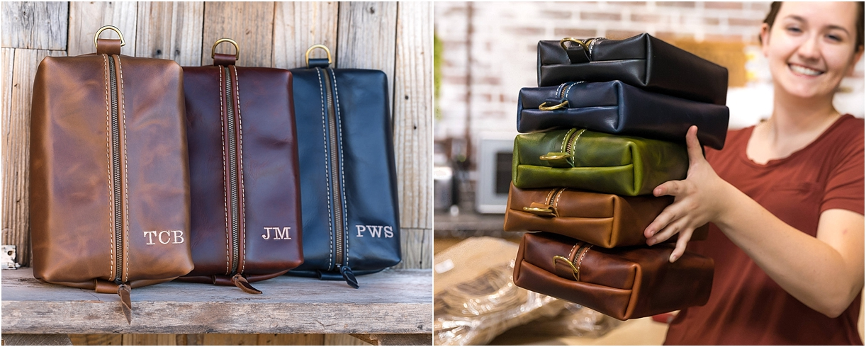 Leather Gift Ideas for the Travel Lover Traveler as seen on Hill City Bride Virginia Wedding Blog - honeymoon, destination, traveling, dopp kit, groomsmen, toiletry bag