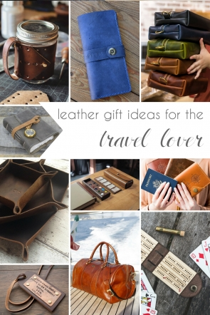 Leather Gift Ideas for the Travel Lover as seen on Hill City Bride Wedding Blog from Etsy
